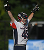 Chris Porzelt #45, Cold Spring Harbor goalie, reacts after his team's 9-6 win over Pleasantville in the NYSPHSAA varsity boys lacrosse Class C state semifinals at Adelphi University in Garden City, NY on Wednesday, June 7, 2017.