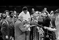 08 Dec 1970, Manhattan, New York City, USA. Muhammad Ali weighs-in prior to his fight against Oscar Bonnavena at Madison Square Garden. Ali won by KO on the 15th round.
