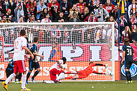Philadelphia Union goalkeeper Zac MacMath (18) is unable to make the save on the New York Red Bulls first goal. The New York Red Bulls defeated the Philadelphia Union 2-1 during a Major League Soccer (MLS) match at Red Bull Arena in Harrison, NJ, on March 30, 2013.