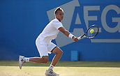 June 16th 2017, Nottingham, England; ATP Aegon Nottingham Open Tennis Tournament day 5;  Lloyd Glasspool of Great Britain plays a backhand in his quarter final match against Dudi Sela of Israel