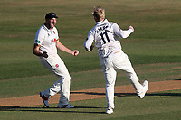 Nick Browne congratulates Simon Harmer of Essex on taking the wicket of Peter Trego during Essex CCC vs Somerset CCC, Specsavers County Championship Division 1 Cricket at The Cloudfm County Ground on 28th June 2018