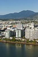 Aerial view of Esplanade and city centre.  Cairns, Queensland, Australia.