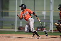 Outfielder Alexander Mercedes (3) of the Baltimore Orioles organization during a minor league spring training camp day game on March 23, 2014 at Buck O'Neil Complex in Sarasota, Florida.  (Mike Janes/Four Seam Images)