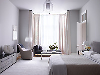 The master bedroom  is decorated in soft greys and neutral giving the room a restful ambience. The bed headboard is by Roman Thomas, the bed linens are by Matouk, the console is by BDDW, and the armchair is from Galerie Blanchetti; the 1960 floor lamp is by Carl Fagerlund for Orrefors, the 1970 ceiling light is by Angelo Brotto for Esperia, the rug is by Mitchell Denburg, and the walls are painted in Pavilion Gray by Farrow & Ball. The pool terrace chairs by Richard Schultz are from Knoll.