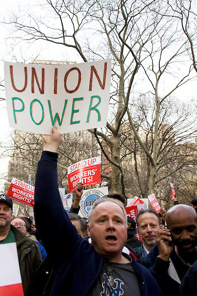 """On the anniversary of Dr. Martin Luther King Jr.'s death, union workers attend """"Unite and Win: Stand Up for Workers' Rights"""" Rally in New York's City Hall Park on 04 April 2011.  The event was held to remind the city's elected officials that workers' rights are human rights, and that those rights will not be destroyed."""