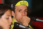 Race leader Simon Yates (GBR) Mitchelton-Scott post stage interview knows he has won the overall at the end of Stage 20 of the La Vuelta 2018, running 97.3km from Andorra Escaldes-Engordany to Coll de la Gallina, Spain. 15th September 2018.                   <br /> Picture: Colin Flockton | Cyclefile<br /> <br /> <br /> All photos usage must carry mandatory copyright credit (© Cyclefile | Colin Flockton)