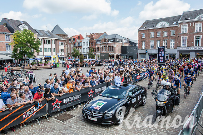 And off they go with race director Nick Nuyens at the helm at the race start in Aarschot<br /> <br /> 2nd Dwars door het Hageland 2017 (UCI 1.1)<br /> Aarschot &gt; Diest : 193km