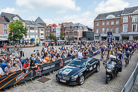 And off they go with race director Nick Nuyens at the helm at the race start in Aarschot<br /> <br /> 2nd Dwars door het Hageland 2017 (UCI 1.1)<br /> Aarschot &gt; Diest : 193km