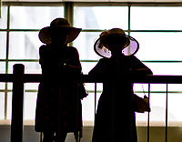 BALTIMORE, MD - MAY 19: Women show off her stylish hats on Black-Eyed Susan Day at Pimlico Race Course on May 19, 2017 in Baltimore, Maryland.(Photo by Scott Serio/Eclipse Sportswire/Getty Images)