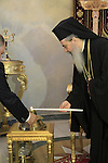 Easter, the Greek Orthodox Patriarch of Jerusalem Theophilus III at the Hall of the Throne in the Greek Orthodox Patriarchate, following the ceremony of the Holy Light on Holy Saturday