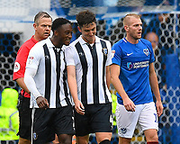 Alex Lacey of Gillingham middle celebrates his goal with Brandon Hanlan of Gillingham during Portsmouth vs Gillingham, Sky Bet EFL League 1 Football at Fratton Park on 6th October 2018