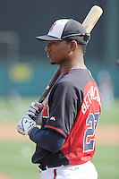 Catcher Christian Bethancourt (27) of the Atlanta Braves before a Spring Training game against the New York Yankees on Wednesday, March 18, 2015, at Champion Stadium at the ESPN Wide World of Sports Complex in Lake Buena Vista, Florida. The Yankees won, 12-5. (Tom Priddy/Four Seam Images)