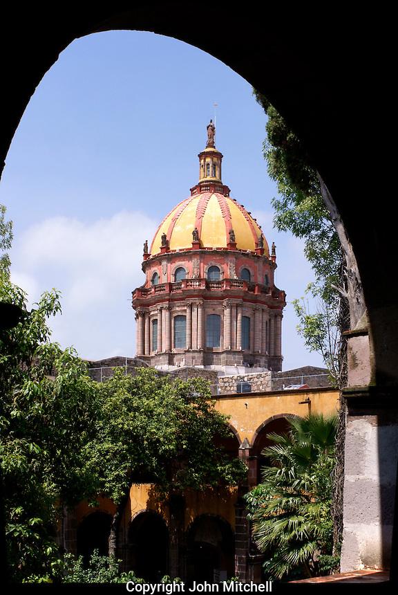 Dome of Templo de la Concepcion church from  the Escuela de Bellas Artes or El Nigromante in San Miguel de Allende, Mexico. San Miguel de Allende is a UNESCO World Heritage Site....