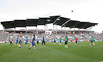 19 May 2007: The Kansas City Wizards starters warm up before the game with the scenic roof of DSG Park as a backdrop. The Colorado Rapids and the Kansas City Wizards played to a 1-1 tie at Dick's Sporting Goods Park in Commerce City, Colorado in a Major League Soccer 2007 regular season game.