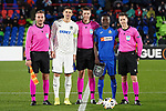 German referee Daniel Siebert (c) with Getafe CF's captain Djene Dakoman (r) and FC Krasnodar's Aleksandr Martynovich during UEFA Europa League match. December 12,2019. (ALTERPHOTOS/Acero)