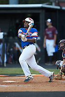 Jeremy Green (6) of Mooresville Post 66 follows through on his swing against Kannapolis Post 115 during an American Legion baseball game at Northwest Cabarrus High School on May 30, 2019 in Concord, North Carolina. Mooresville Post 66 defeated Kannapolis Post 115 4-3. (Brian Westerholt/Four Seam Images)