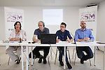 Economics specialist Robert Pollin (2L) and `Podemos´ members Carolina Bescansa, Inigo Errejon and Nacho Alvarez during a press conference in Madrid, Spain. June 22, 2015. (ALTERPHOTOS/Victor Blanco)
