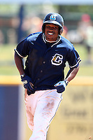 Lake County Captains Carlos Moncrief #24 during a game against the Quad Cities River Bandits at Classic Park on July 21, 2011 in Eastlake, Ohio.  Lake County defeated Quad Cities 16-15.  (Mike Janes/Four Seam Images)