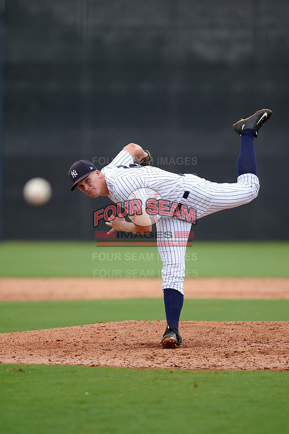 GCL Yankees East relief pitcher Woody Bryson (62) follows through on a pitch during the first game of a doubleheader against the GCL Yankees West on July 19, 2017 at the Yankees Minor League Complex in Tampa, Florida.  GCL Yankees West defeated the GCL Yankees East 11-2.  (Mike Janes/Four Seam Images)