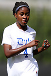 02 October 2011: Duke's Natasha Anasi. The Duke University Blue Devils defeated the Virginia Tech Hokies 1-0 at Koskinen Stadium in Durham, North Carolina in an NCAA Division I Women's Soccer game.