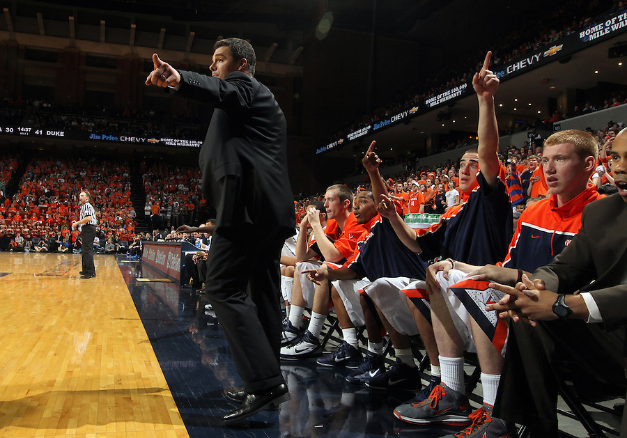 Feb. 16, 2011; Charlottesville, VA, USA; Virginia Cavaliers head coach Tony Bennett reacts to a call during the second half of the game against the Duke Blue Devils at the John Paul Jones Arena. The Duke Blue Devils won 56-41. Credit Image: © Andrew Shurtleff