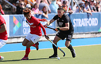 Jacob Smith (right) during the Olympic Qualifier Hockey match between the Blacksticks Men and Korea at TET Multisport Centre in Stratford, New Zealand on Saturday, 2 November 2019. Photo: Simon Watts / www.bwmedia.co.nz