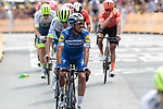 Julian Alaphilippe (FRA) Deceuninck-Quick Step crosses the finish line at the end of Stage 1 of the 2019 Tour de France running 194.5km from Brussels to Brussels, Belgium. 6th July 2019.<br /> Picture: Colin Flockton | Cyclefile<br /> All photos usage must carry mandatory copyright credit (© Cyclefile | Colin Flockton)