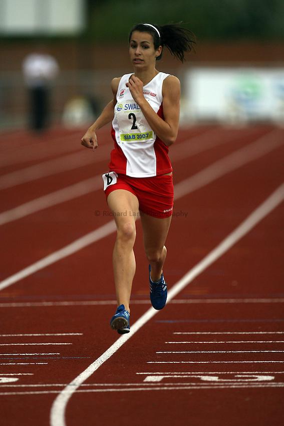 Photo: Rich Eaton...Schools International Athletic Board, Track & Field International Match, Newport. 21/07/2007. Kerrie Harris of England wins gold in the girls 800m.