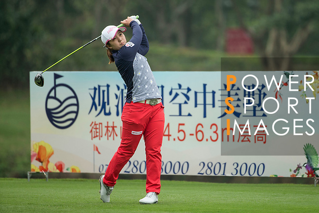 Bo Bea Kim of South Korea tees off at the 18th hole during Round 2 of the World Ladies Championship 2016 on 12 March 2016 at Mission Hills Olazabal Golf Course in Dongguan, China. Photo by Victor Fraile / Power Sport Images