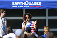SAN JOSE, CA - JULY 27: Pre-game Danielle Slaton prior to a Major League Soccer (MLS) match between the San Jose Earthquakes and the Colorado Rapids on July 27, 2019 at Avaya Stadium in San Jose, California.