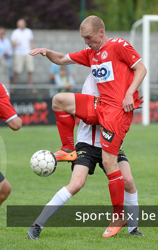 20150627 - Lauwe , BELGIUM : Kortrijk's Michael Lallemand pictured during a friendly match between Belgian first division team KV Kortrijk and Belgian third division soccer team FC Izegem , during the preparations for the 2015-2016 season, Saturday 27th June 2015 in Lauwe. PHOTO DAVID CATRY