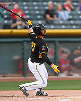 Tony Sanchez (27) of the Salt Lake Bees follows through on his swing against the Sacramento River Cats during the Pacific Coast League game at Smith's Ballpark on April 13, 2017 in Salt Lake City, Utah.Salt Lake defeated Sacramento 4-3.  (Stephen Smith/Four Seam Images)