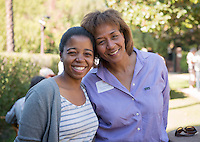 Arielle N'Diaye '15 and her mother Kim Goldsmith-N'Diaye at the President's Reception, Homecoming & Family Weekend, Friday, Oct. 18, 2013. (Photo by Marc Campos, Occidental College Photographer)