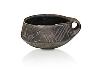 Neolithic Cretian clay single handled cup open kiln fired at Knossos,  4500-3000 BC, Heraklion Archaeological  Museum, white background.
