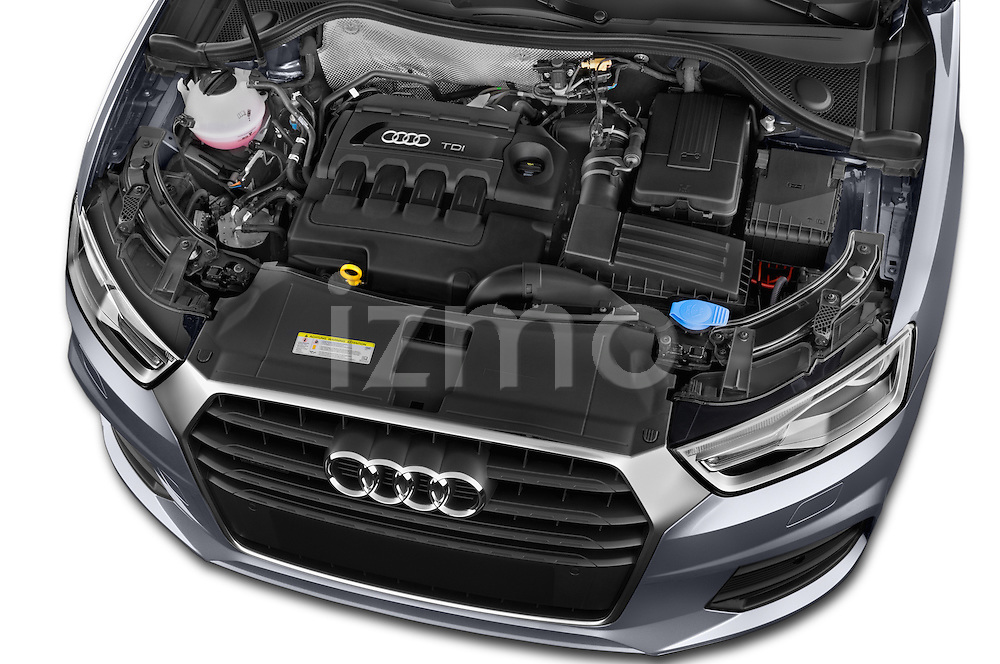 Car stock 2015 Audi Q3 Sport 5 Door SUV engine high angle detail view