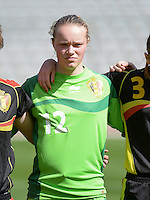 20140407 - BRUSSELS , BELGIUM : Belgian Jana Vanhauwaert pictured during the female soccer match between CZECH REPUBLIC U19 and BELGIUM U19 , in the second game of the Elite round in group 4 in the UEFA European Women's Under 19 competition 2014 in the Koning Boudewijn Stadion , Monday 7 April 2014 in Brussels . PHOTO DAVID CATRY