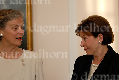 Monday,May 5, 2008 at the Bellevue Castle in Berlin.The former UN Secretary General Kofi Annan receives  the Great Cross of the Order of Merit of the Federal Republic of Germany.German President `s wife Eva Luise Koehler with Nane Maria Annan.
