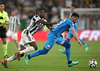 Calcio, Serie A: Juventus - Napoli, Torino, Allianz Stadium, 22 aprile, 2018.<br /> Juventus' Blaise Matuidi (l) in action with Napoli's Elseid Hysaj (r) during the Italian Serie A football match between Juventus and Napoli at Torino's Allianz stadium, April 22, 2018.<br /> UPDATE IMAGES PRESS/Isabella Bonotto