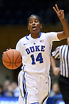 30 October 2014: Duke's Ka'lia Johnson. The Duke University Blue Devils hosted the Limestone College Saints at Cameron Indoor Stadium in Durham, North Carolina in an NCAA Women's Basketball exhibition game. Duke won the game 100-33.