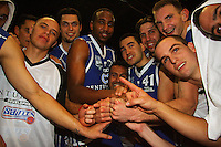 The Saints celebrate the win during the NBL Semifinal basketball match between the Wellington Saints and Nelson Giants at TSB Bank Arena, Wellington, New Zealand on Thursday, 12 June 2008. Photo: Dave Lintott / lintottphoto.co.nz