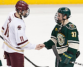 Chris Calnan (BC - 11), Ross Colton (UVM - 37) - The Boston College Eagles defeated the University of Vermont Catamounts 7-4 on Saturday, March 11, 2017, at Kelley Rink to sweep their Hockey East quarterfinal series.The Boston College Eagles defeated the University of Vermont Catamounts 7-4 on Saturday, March 11, 2017, at Kelley Rink to sweep their Hockey East quarterfinal series.