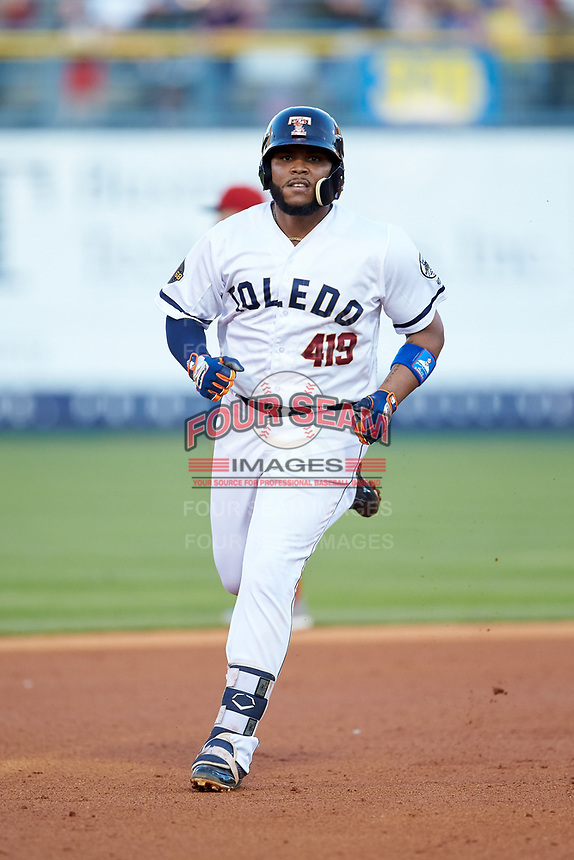 Edwin Espinal (22) of the Toledo Mud Hens rounds the bases after hitting a home run against the Louisville Bats at Fifth Third Field on June 16, 2018 in Toledo, Ohio. The Mud Hens defeated the Bats 7-4.  (Brian Westerholt/Four Seam Images)