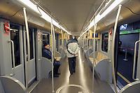 - Milan, ATM (Azienda Trasporti Milanesi), interior of a carriage on the subway line 2......- Milano, ATM (Azienda Trasporti Milanesi), interno di una carrozza sulla linea 2 della Metropolitana