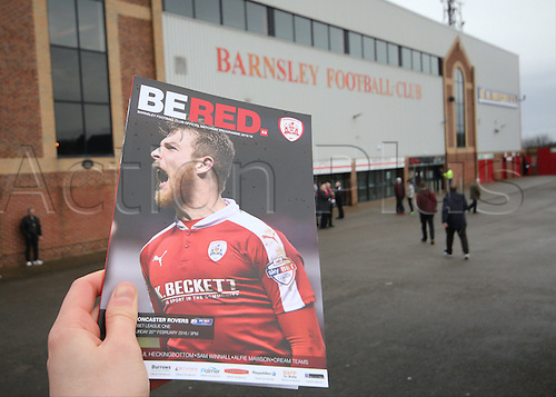 20.02.2016. Oakwell Stadium, Barnsley, England. Skybet League One. Barnsley versus Doncaster Rovers. Today's Program in tjhe hands of a fan
