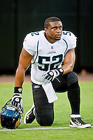 August 19, 2011:   Jacksonville Jaguars linebacker Daryl Smith (52) takes a break prior to the start of  pre season action between the Jacksonville Jaguars and the Atlanta Falcons at EverBank Field in Jacksonville, Florida.   Jacksonville defeated the Falcons 15-13.........