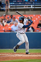 Lynchburg Hillcats designated hitter Emmanuel Tapia (28) at bat during the second game of a doubleheader against the Frederick Keys on June 12, 2018 at Nymeo Field at Harry Grove Stadium in Frederick, Maryland.  Frederick defeated Lynchburg 8-1.  (Mike Janes/Four Seam Images)
