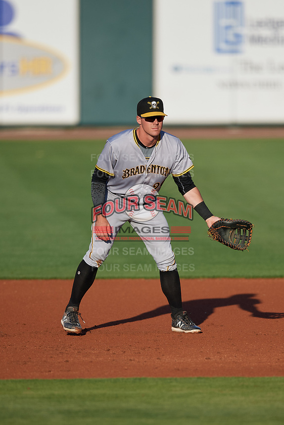 Bradenton Marauders first baseman Lucas Tancas (29) during a game against the Lakeland Flying Tigers on April 12, 2018 at Publix Field at Joker Marchant Stadium in Lakeland, Florida.  Bradenton defeated Lakeland 5-4.  (Mike Janes/Four Seam Images)