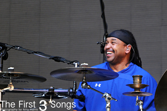 Carter Beauford of Dave Matthews Band performs during the HullabaLOU Music Festival in Louisville, Kentucky on July 25, 2010.