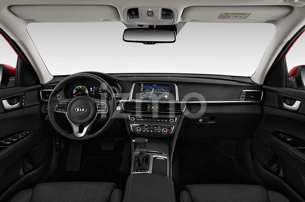 Stock photo of straight dashboard view of a 2017 KIA Optima Plug-In Hybrid Fusion 4 Door Sedan