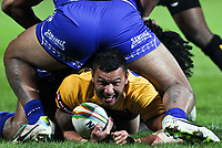 Picture by Alex Whitehead/SWpix.com - 04/11/2013 - Rugby League - Rugby League World Cup - Papua New Guinea v Samoa - Craven Park, Hull, England - PNG's Jason Chan is tackled by Samoa's defence. Rugby League World Cup 2013 re edited 11/10/2017 Best Of